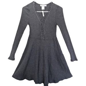 NWT Gray Lace Up Sweater Dress Flying Tomato